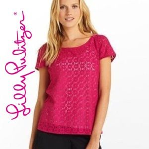 LILLY PULITZER Eyelet Lace Hot Pink Poppy Top